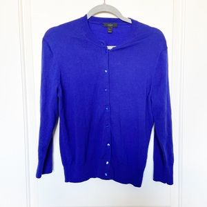 J CREW • Cobalt Blue Button Up Cardigan Sz L